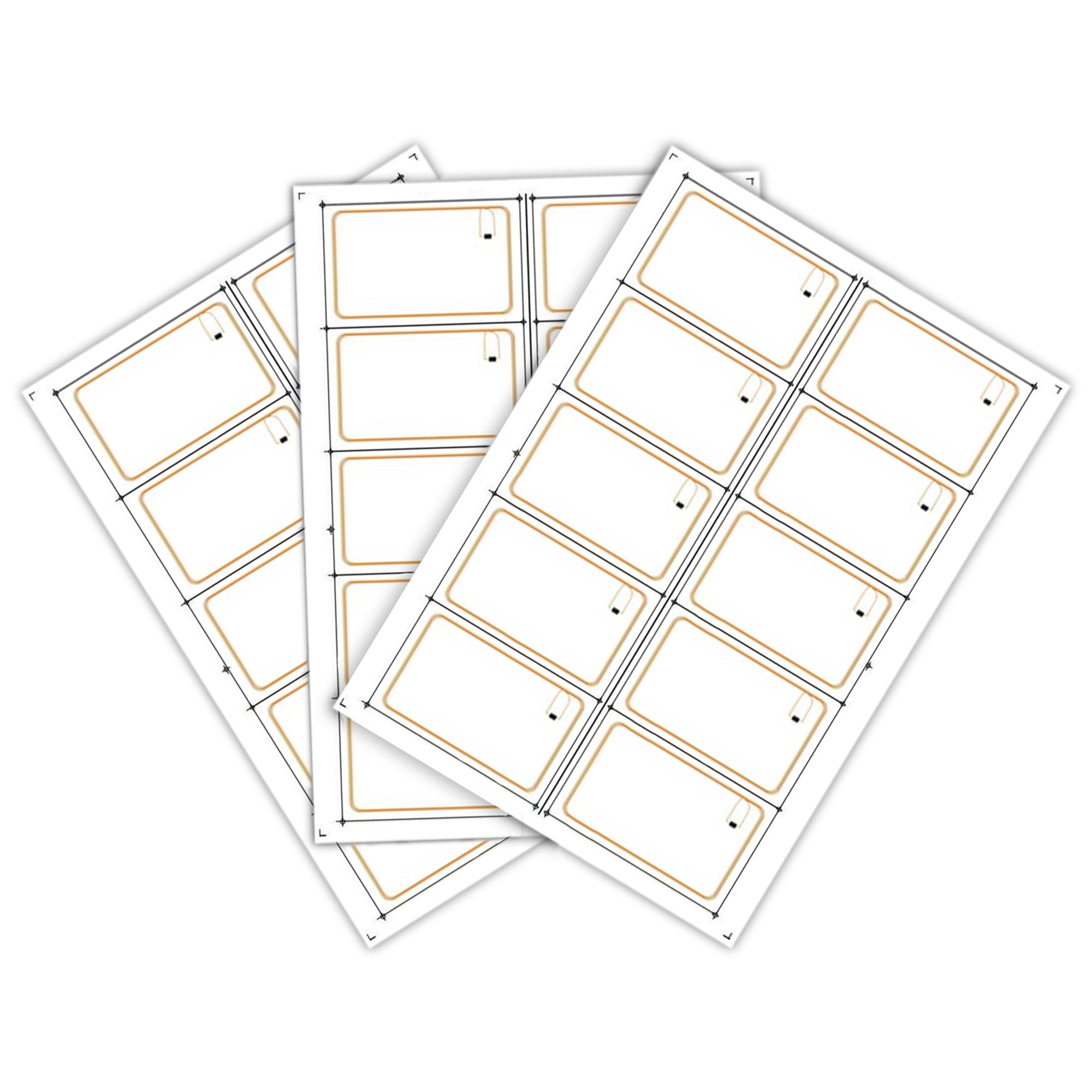 Сырье (инлей) для производства RFID-карт Mifare 1K (10 чипов на листе формата A4) (UID 4 байт)