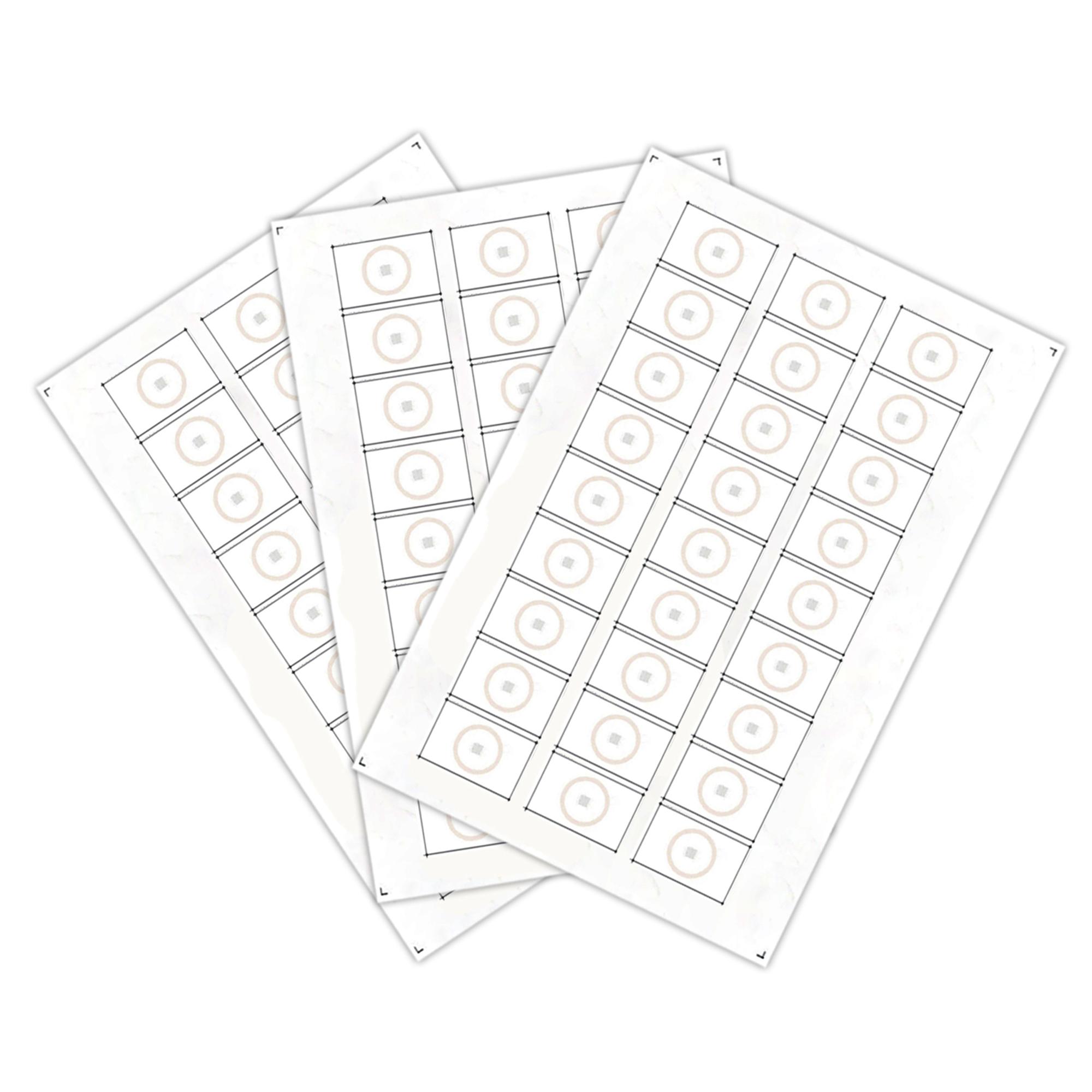 Сырье, инлеи для производства бесконтактных пластиковых RFID-карт с чипом Em-Marine (27 чипов на листе формата A4)