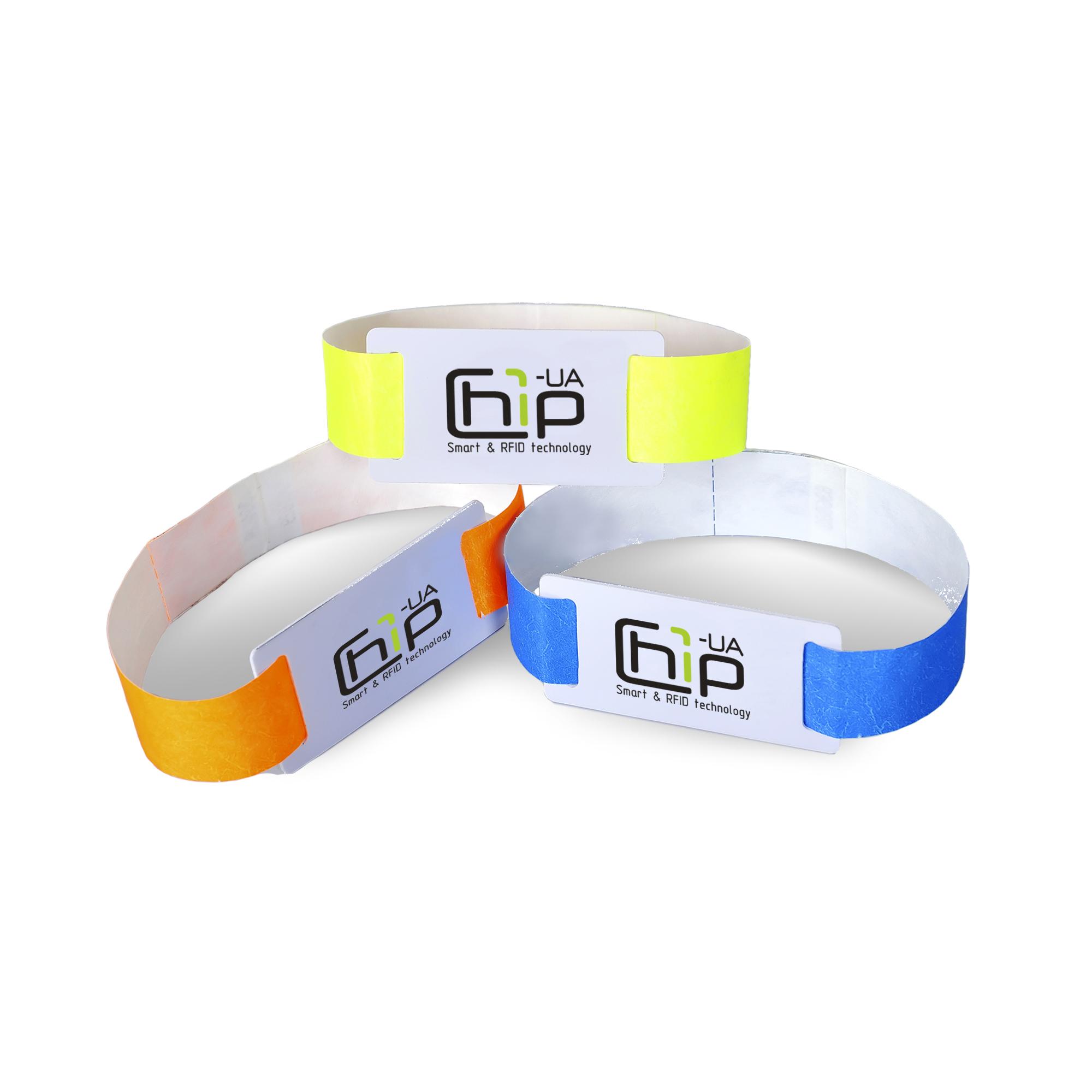 Chip-UA | Оранжевый, желтый и синий бесконтактные RFID–браслеты с полноцветной печатью на бумажном ремешке с чипом Atmel (Temic) T5557, T5577