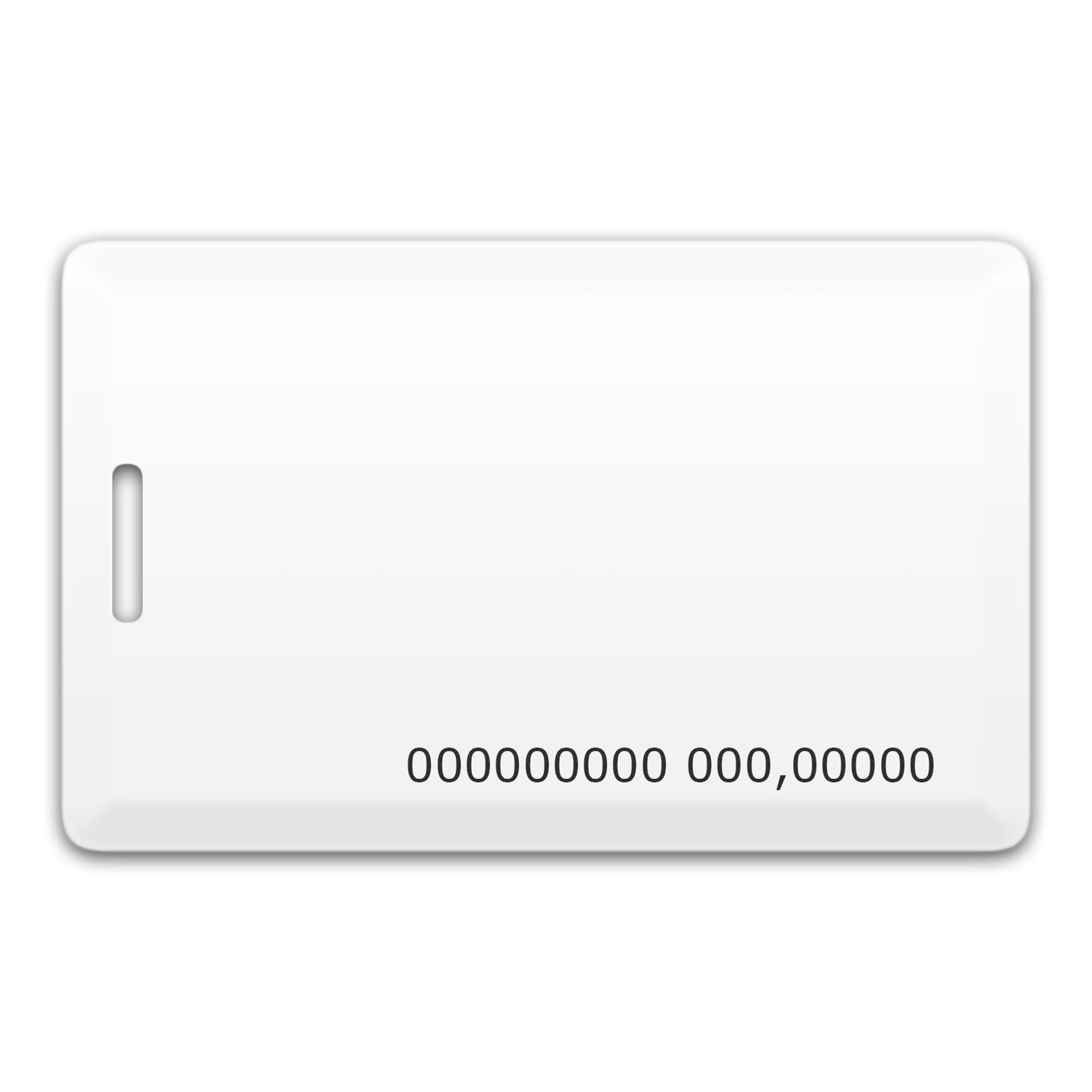 Chip-UA | Бесконтактная пластиковая карта (толстая) с прорезью, с номером, с чипом Em-Marine Clamshell