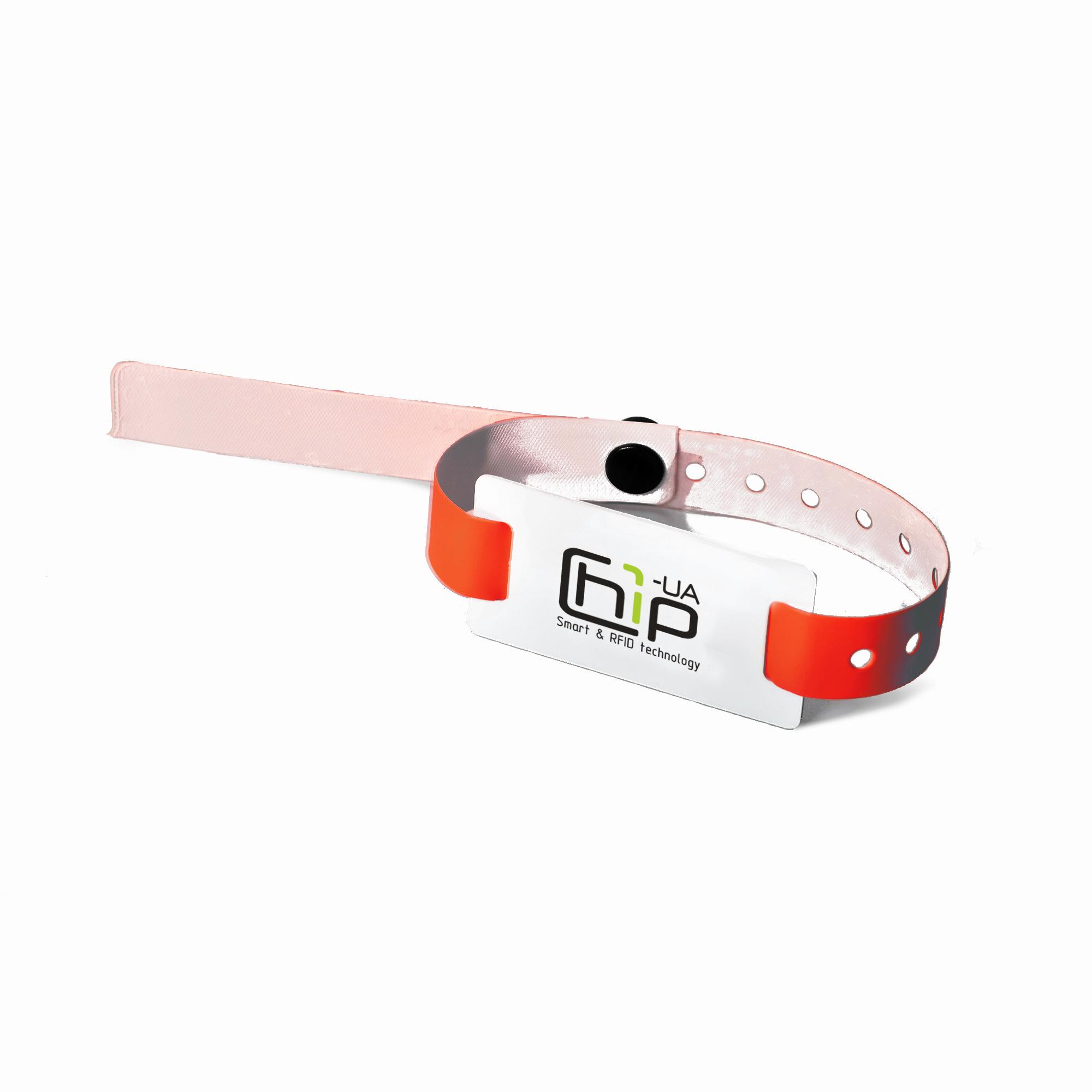 Chip-UA | Красный бесконтактный RFID-браслет с полноцветной печатью на силиконовом ремешке с застежкой с чипом Em-Marine