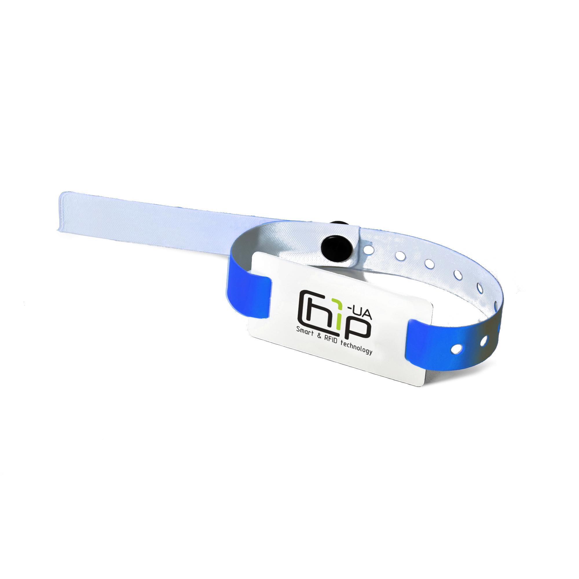 Chip-UA | Синий бесконтактный RFID-браслет с полноцветной печатью на силиконовом ремешке с застежкой с чипом Mifare 1K