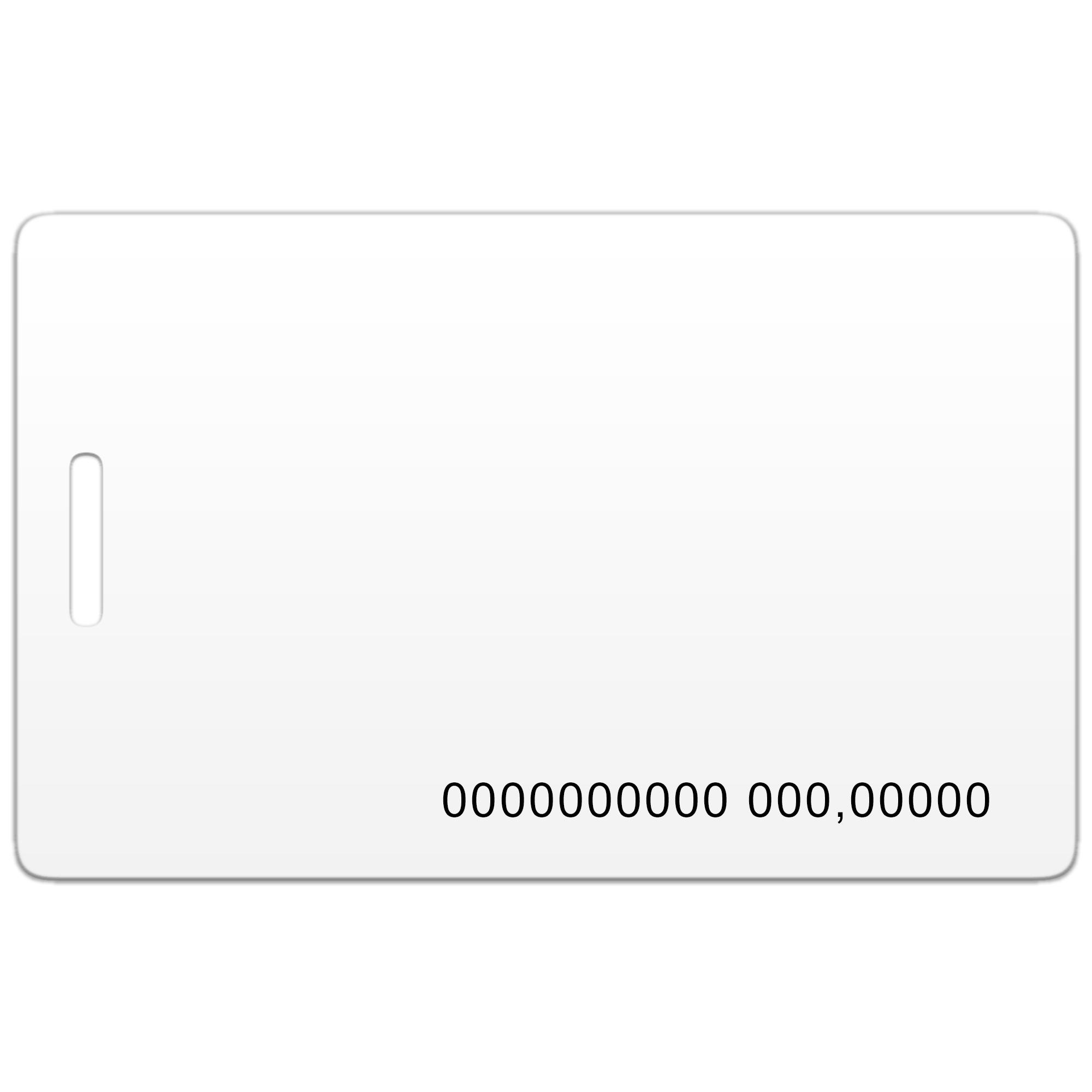 Бесконтактная пластиковая RFID-карта с чипом Em-Marine с номером и с прорезью