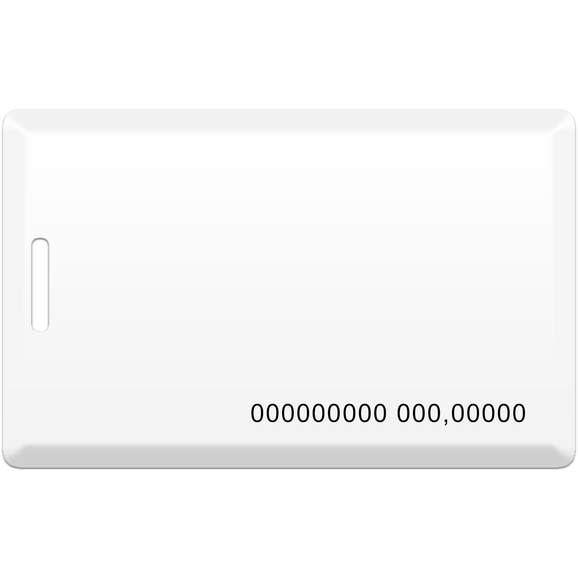 Бесконтактная пластиковая карта (толстая) с прорезью, с номером, с чипом Em-Marine Clamshell